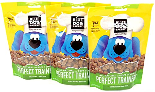 Blue Dog Bakery Perfect Trainers All Natural Dog Treats, Chicken and Cheese 6-Ounce Bags (Pack of 3)