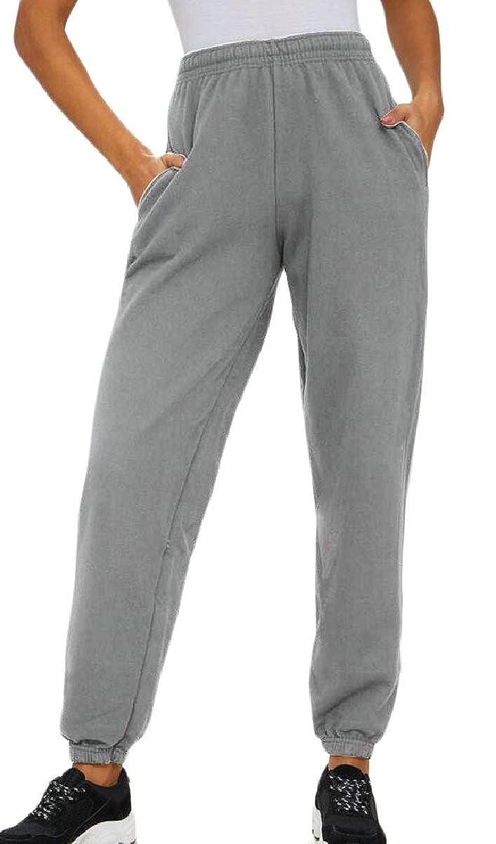 CBTLVSN Womens Slim Fit Exercise Running Elastic Waist Sweatpants Solid Color Pants