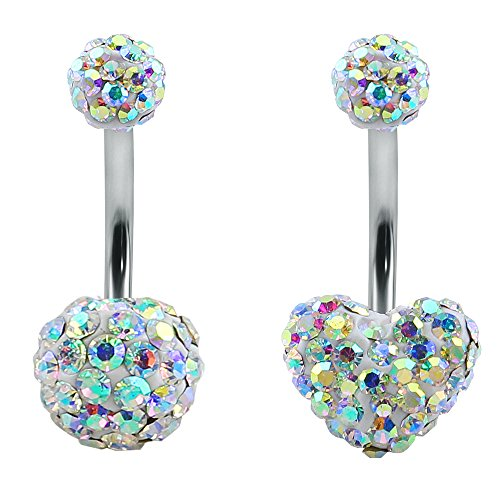 2Pcs CZ Crystal Belly Button Rings 14g Curved Barbell Ferido Ball Heart Navel Ring for Women Piercing (AB Crystal)