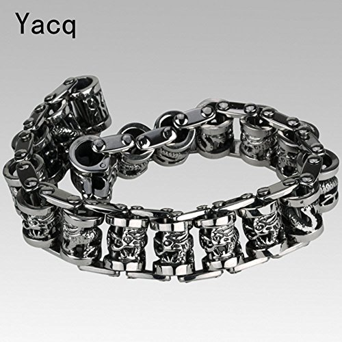 [Men Dragon Stainless Steel Bracelet Punk Rock Jewelry Gift Silver Tone 8.5