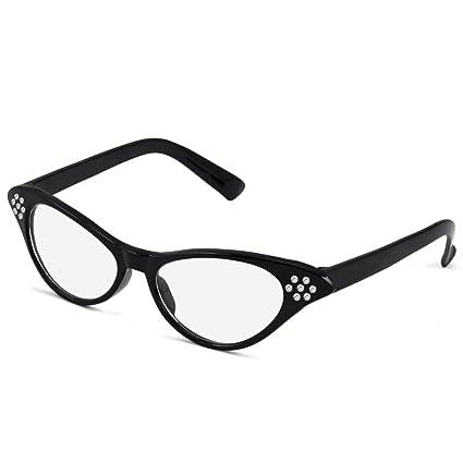 27c99ebbb22 Popamazing Ideal Design 1950s 50s Grease Ladies Girls Cat Black Eye Glasses  Dame Edna Retro Fancy Dress Specs  Amazon.co.uk  DIY   Tools