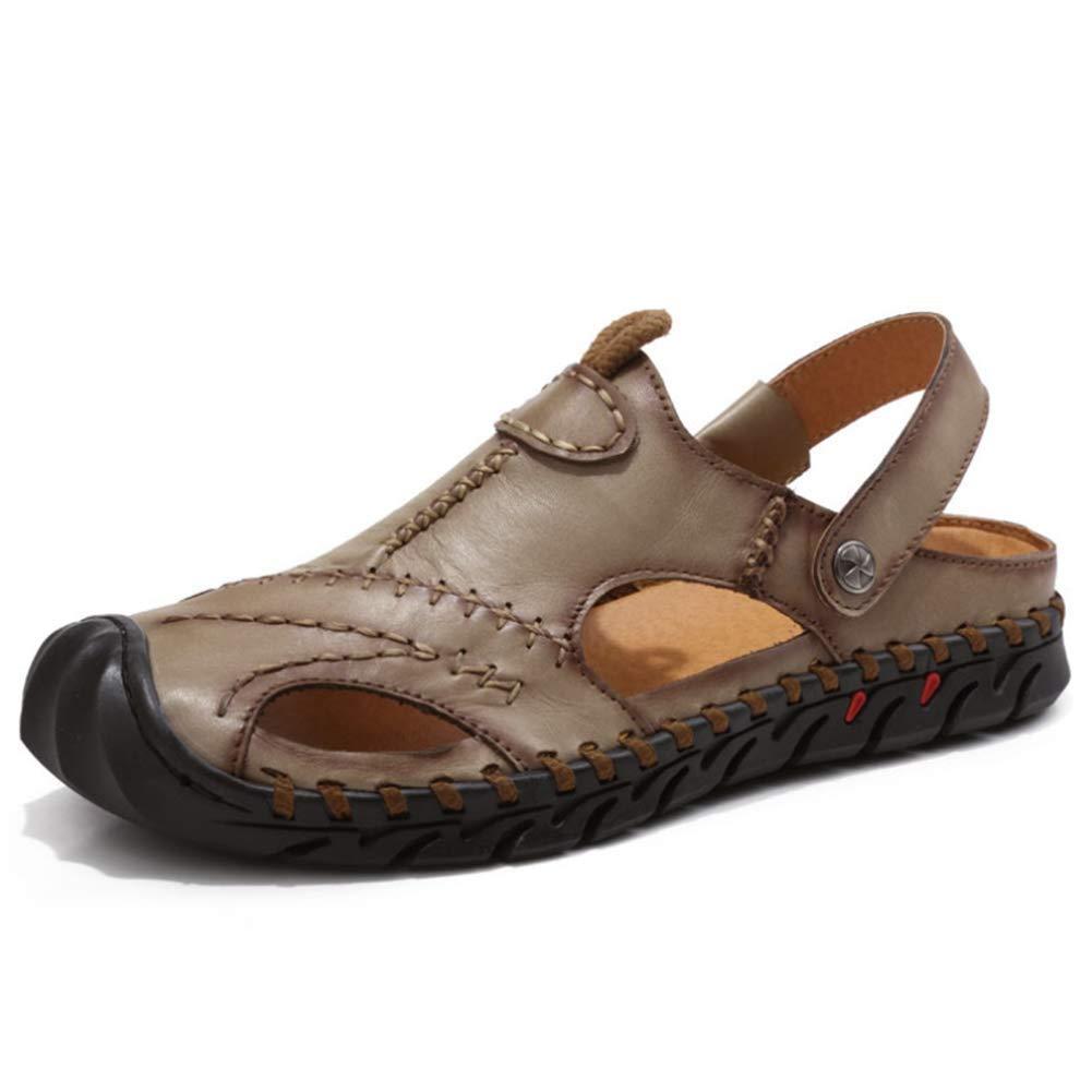 e3834dc1265f19 sandale hommes baotou cuir chaussures confortables plage plage plage bouts  fermés été chaussures, kaki, 40 b07gr38q6h 40 | kaki | Simple D'utilisation  ...