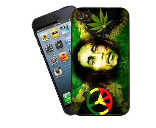Eclipse idées cadeau Bob Marley-Feuille De Chanvre Coque pour iPhone 4/4s