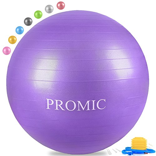 PROMIC Professional Grade Static Strength Exercise Stability Balance Ball with Foot Pump,45cm,Purple