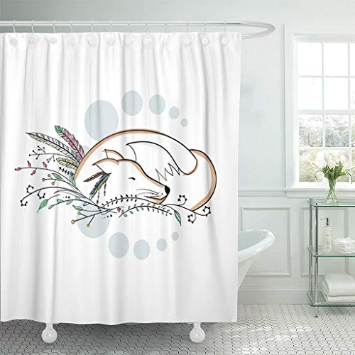 Emvency Fabric Shower Curtain Curtains with Hooks Indian Sleeping Autumn Apache Fox Decorated with Forest Grass Feather for Tattoo Native Ancient Animal 66