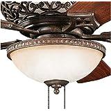 Kichler 380007TZ Cortez 3LT Ceiling Fan Light Kit, Sunrise Marble Glass and Tannery Bronze Finish