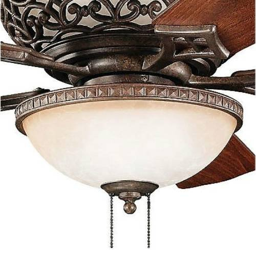 Spanish Ceiling Lighting - Kichler 380007TZ Cortez Bowl Light Fixture Kit, Tannery Bronze