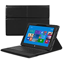 GreatShield® Microsoft Surface Pro / Surface Pro 2 Tablet [VANTAGE] PU Leather Case & Stand with Hook and Loop Interior for Microsoft Surface Pro / Surface Pro 2 - (works with or without keyboard) - Black