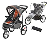 Graco FastAction Fold Jogger Click Connect Stroller with Bonus Insect Netting & Weather Shield - Tangerine