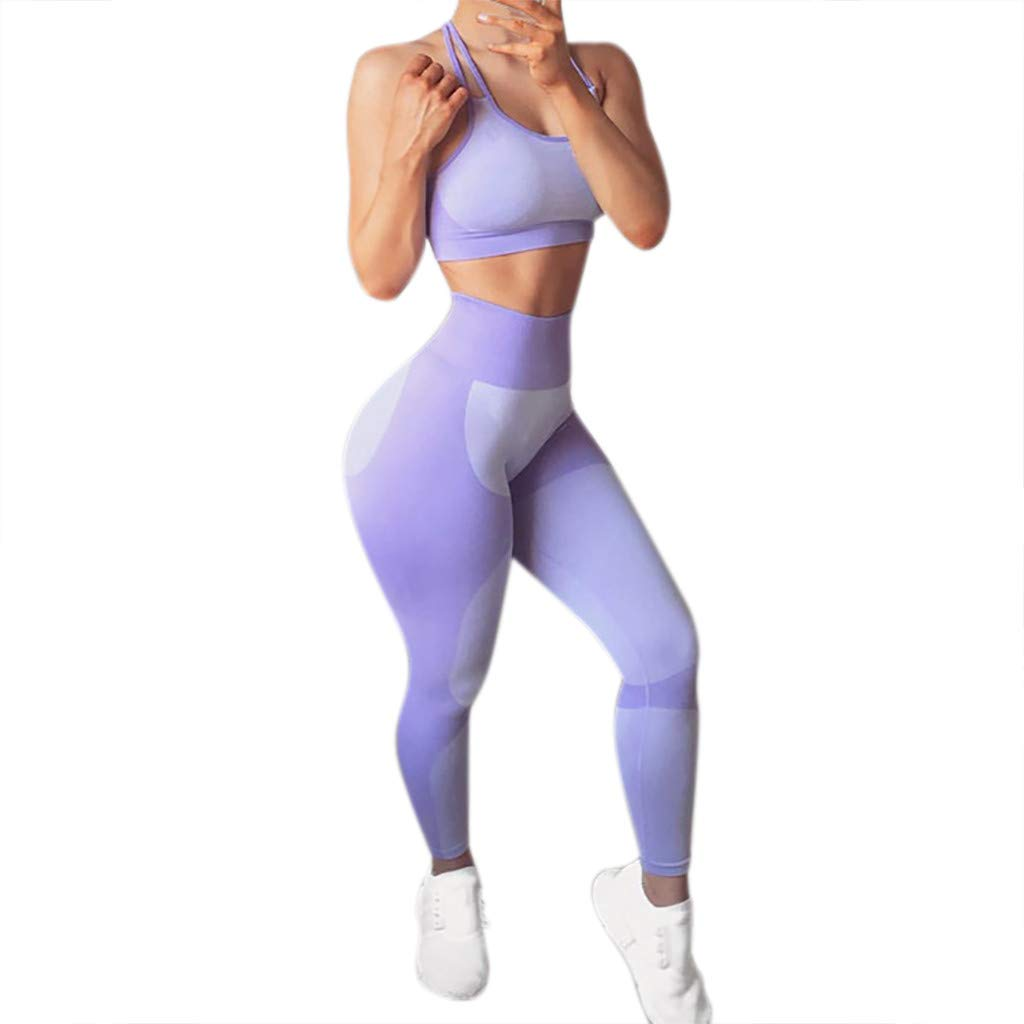 NUWFOR Women's Fashion Workout Leggings Fitness Sports Gym Running Yoga Athletic Pants(Purple,M US Waist :26.0-28.3'')