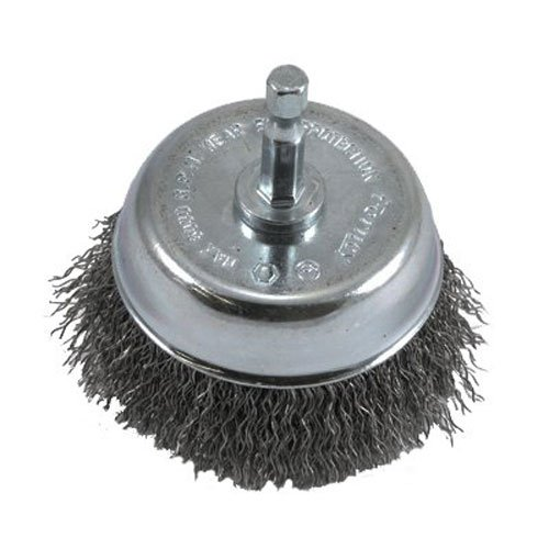 Forney 72731 Wire Cup Brush, Coarse Crimped with 1/4-Inch Hex Shank, 3-Inch-by-.012-Inch, 1 Pack