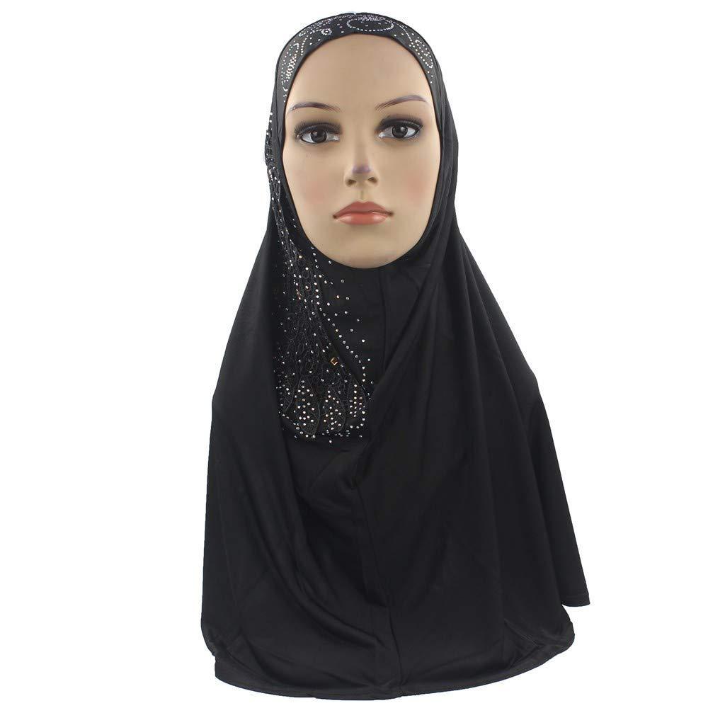Pollyhb Muslim Women Leaf Hijab Instant Convenient Shawl Head Wear Scarf Turban Black