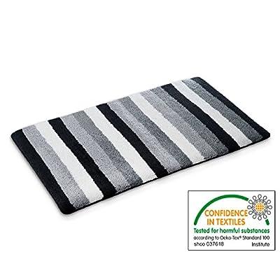 casa pura Design Bathroom Rug | Non-Slip Bath Mat for Floors | Black & Gray Stripes | Multiple Sizes Available