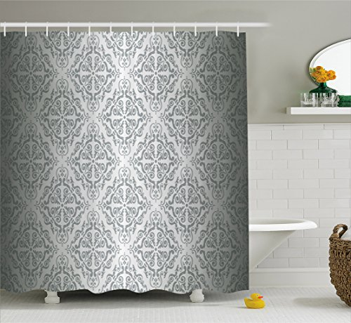 Ambesonne Silver Shower Curtain Set, Vintage Mandala Baroque Patterns Monochrome Victorian Antique Ornaments Retro Damask, Fabric Bathroom Decor with Hooks, 70 Inches, (Silver Antique Pattern)