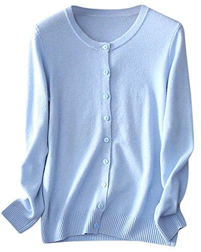 NAWONGSKY Women's Casual Button Down Classic Long Sleeve Crewneck Lightweight Cashmere Cardigan Sweater, Light Blue, Tag XL = US ()