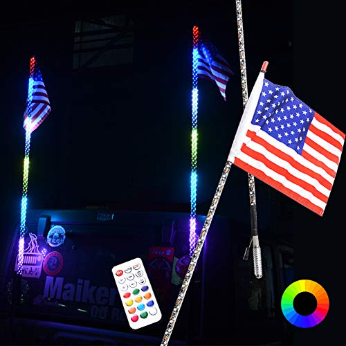 Maiker 4FT LED Whip Lights 360° Twisted Antenna Dream Wrapped Dancing Whips for Polaris RZR ATV Antenna Whip UTV Quad Sand Dune Buggy Flag Poles for Trucks w/Remote Control (1 pair)