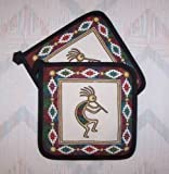 The Pecan Man Pot Holder Set of 2 Kokopelli-Canyon-Dance