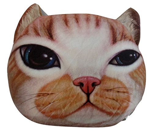 Tache Home Fashion CATPILLOW Tache Cute Orange Tabby Cat Microbead Realistic Throw Pillow, Brown