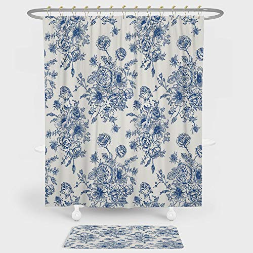 Blue Giraffe Shower Flower (Anemone Flower Shower Curtain And Floor Mat Combination Set Floral Pattern with Bouquet of Blue Flowers Delicate Victorian Design Decorative For decoration and daily use Night Blue White)