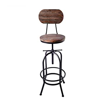 Amazon.com: Swivel Adjustable Bar Stools Metal Backrest ...