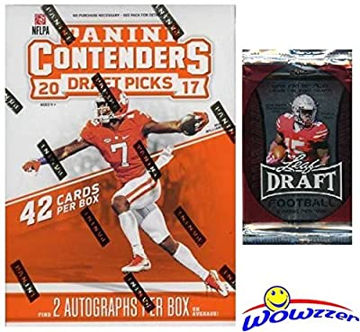 2017 Panini Contenders NFL Football Draft Picks EXCLUSIVE Factory Sealed Retail Box with TWO(2) AUTOGRAPHS Plus BONUS 2016 Leaf Football Pack! Look for Autographs of Fournette, Watson & More! WOWZZER!