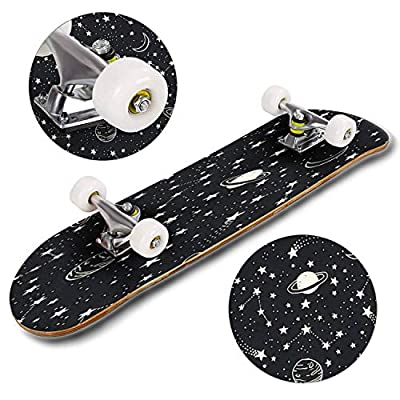 Classic Concave Skateboard Vector Space Seamless Pattern with Planets Comets Constellations and Longboard Maple Deck Extreme Sports and Outdoors Double Kick Trick for Beginners and Professionals : Sports & Outdoors