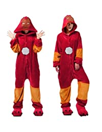 I'MQueen Unisex Iron Man Onesie Cartoon Adult Pajamas Flannel Homewear Costume