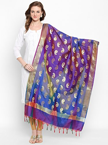 Dupatta Bazaar Woman's Blue & Gold Shaded Banarasi Silk Dupatta by Dupatta Bazaar