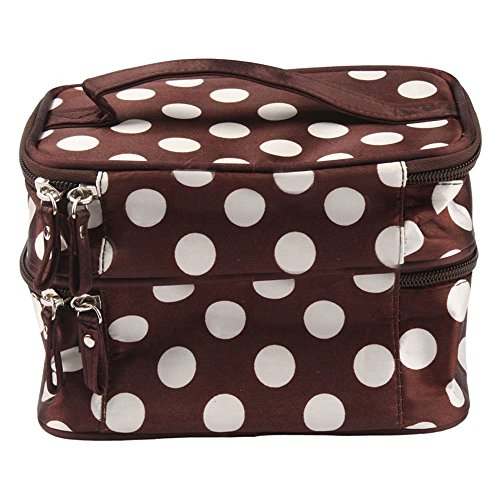 Women Polka Dot Black Rose Double Layer Organizer Cosmetic Case Toiletry Bag Travel Pouch (brown and white)