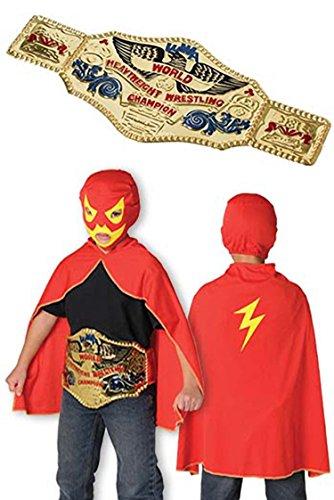 Wrestling Costume Set - Mask, Cape and (Wrestling Belt Costume)