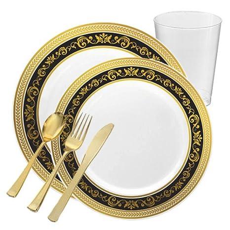 POSH Fuentes del partido | negro con borde dorado fiesta plástico vajilla paquete para 20 personas