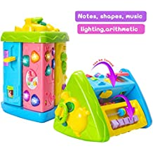 HOMOFY Baby Toys Colorful Rotational Calf Triangle with Lights & Music Animals & Geometric Keys Multi Interactive Games Learning Educational Toys For Girls Boys Toddlersand Babies 1 2 3 4 5 year old