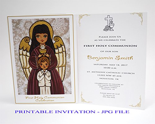 Religious Printable Invitations (Boy first communion invitation boy Guardian angel Boy first holy communion invitation boy Religious invitation boy First communion invites Spanish invitation First communion invitation printable)