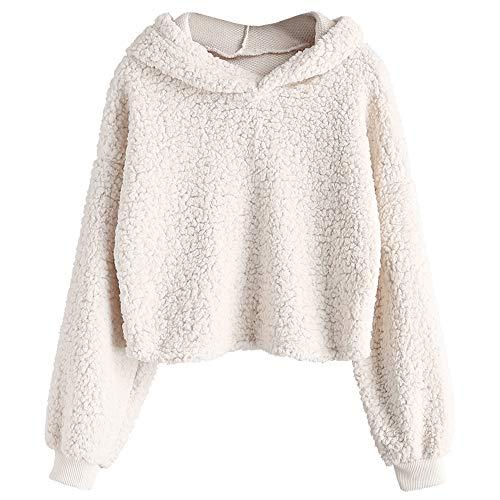 - ZAFUL Women's Fuzzy Faux Fur Oversized Pullover Crop Hoodie Sweatshirt (Beige, S)