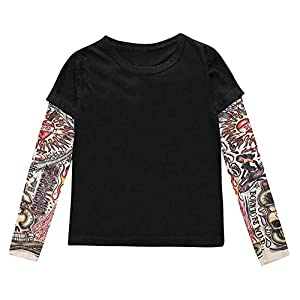 stylesilove Super Cool Unisex Kid Cotton T-Shirt With Mesh Tattoo Sleeve (130/6, Black)