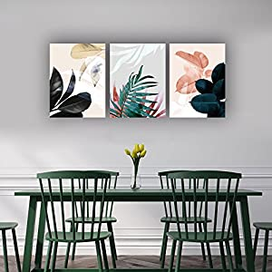 "SkywardArt Canvas Art Simple Life Green Red Leaf Painting Wall Art Decor 12"" x 16"" 3 Pieces Framed Canvas Prints Watercolor Giclee with Black Border Ready to Hang for Home Decoration"