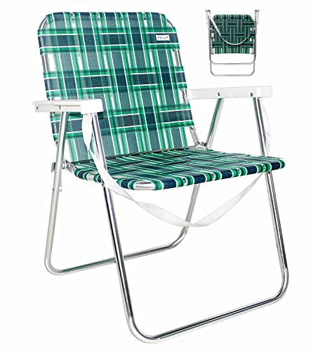 VALLF Lightweight Aluminum Folding Beach Camping Lawn Web Chair with Shoulder Strap (Green and White)