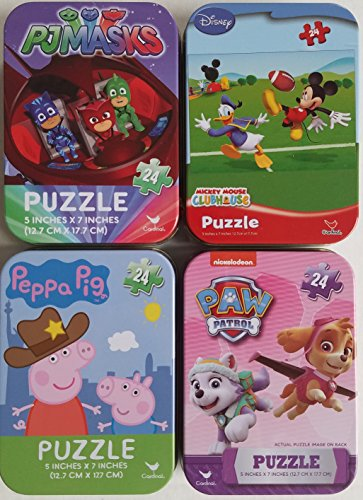 4 Collectible Girls/Boys Mini Jigsaw Puzzles in Travel Tin Cases: Nickelodeon Disney Kids Paw Patrol, Mickey Mouse, Peppa Pig, and PJ Masks Gift Set -