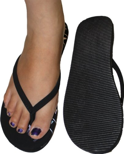 Soft Womens Flip Print Flop with Padded Fit Black Footbed Comportable Hollywood qA4X7Aw