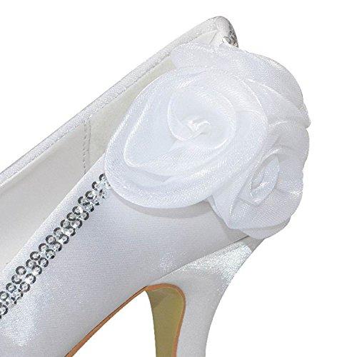 Minishion Womens 3 Pollici Raso Tallone Fiori Pompe Da Sposa Abito Da Sposa Bianco