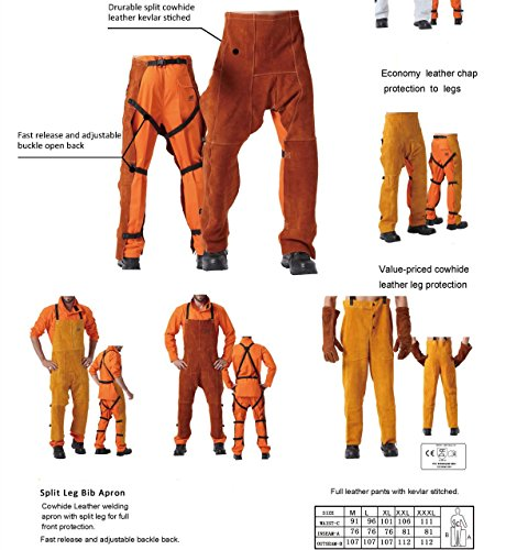 Leather Welding Pants Chaps Trousers Flame/Heat/Abrasion Resistant Cowhide Leather Worker Britches Romper for Welding Protection (XL) by Generic (Image #4)
