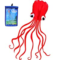 Hengda Kite Software Octopus Flyer Kite con larga cola colorida para niños, 31 pulgadas de ancho x 157 pulgadas de largo, grande, rojo