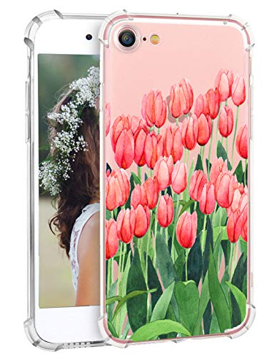 Hepix iPhone 8 Case iPhone 7 Case with Pink Tulips Flowers Soft Clear Floral Print Protective Bumper Anti-Scratch TPU Bumper Back Cover Case for iPhone 7 / iPhone 8 [4.7 inch]