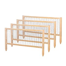 """Greenes Fence RCCG4PK CritterGuard Cedar Garden Fence, Pack of 4, 23.5"""" 102 Each panel measures 45 in. long by 23.5 in. tall Stakes push 7 in. into the soil leaving 16.25 in. of fence above the soil Helps protect against rabbits and other critters"""