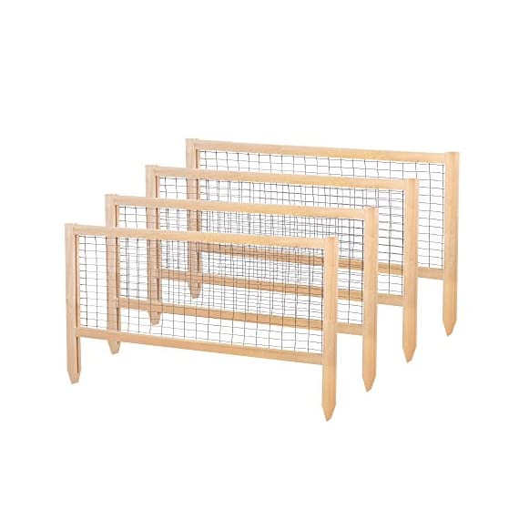 """Greenes Fence RCCG4PK CritterGuard Cedar Garden Fence, Pack of 4, 23.5"""" 1 Each panel measures 45 in. long by 23.5 in. tall Stakes push 7 in. into the soil leaving 16.25 in. of fence above the soil Helps protect against rabbits and other critters"""