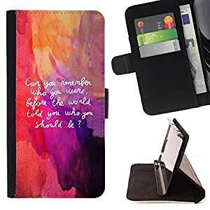 BullDog Case - FOR/Sony Xperia Z2 D6502 / - / art quote be yourself remember life inner self /- Monedero de cuero de la PU Llevar cubierta de la caja con el ID Credit Card Slots Flip funda de cuer