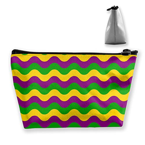 Mardi Gras Wave Pattern Small Travel Makeup Pouch Toiletries Storage Organizer Bags