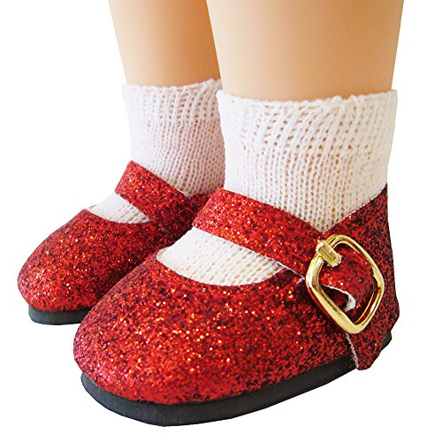Doll Clothes Sew Beautiful Red Glitter Shoes for American Girl Wellie Wishers