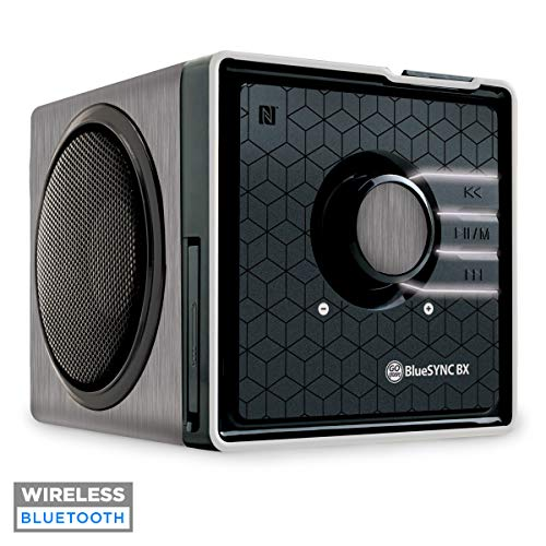 Portable Wireless Bluetooth Speaker by GOgroove - BlueSYNC BX Rechargeable Compact Speaker w/ NFC Tap to Pair, Removable Battery, AUX & USB inputs, Microphone, Playback Controls [Bluetooth, Silver]