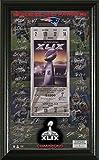 """NFL New England Patriots Super Bowl XLIX Champions Signature Ticket, 21"""" x 14"""" x 3"""", Black"""